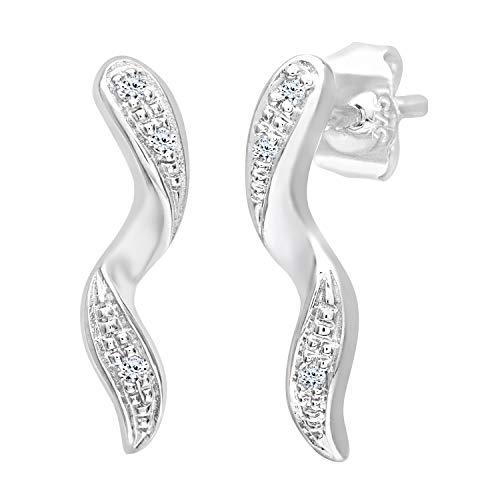 Naava Women's 0.03 ct Diamond Drop Earrings in 9 ct White Gold
