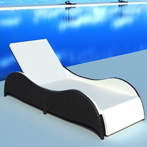 FZYHFA Chaise Longue avec Coussin Forme ondulée en Noir Résine tressée pour Balcon/terrasse/Jardin