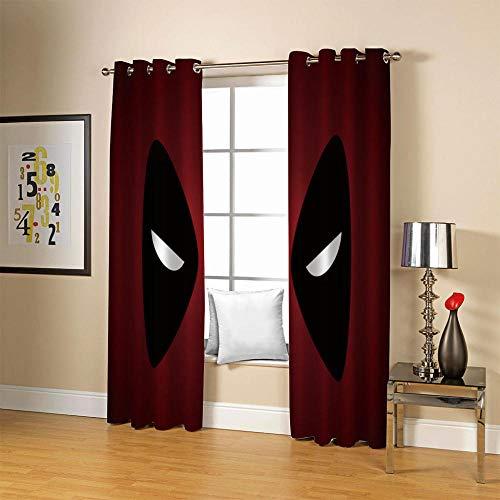 carmaxs cortina opaca térmica aislante blackout para salón, dormitorio y habitación, con ojales - Impresión digital 3D Poliéster - Rojo película héroe graffiti 234x183 cm