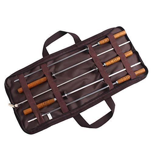 Los pinchos de bbq de acero inoxidable de shish extra largos con mango de madera, pincho reutilizable a la parrilla para Shish Kabob incluye una bolsa de transporte práctica (16.54'pinchos (5PACK))