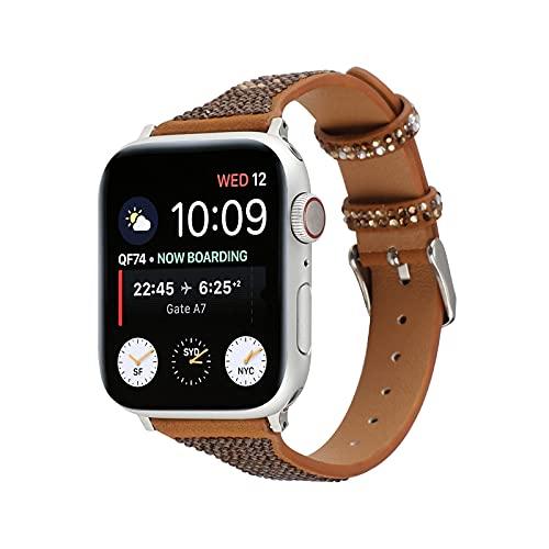 KAEGREEL Correa de Piel auténtica para Apple Watch 38 mm 40 mm 42 mm 44 mm, Correa de Repuesto de Diamante Compatible con Apple Watch SE Series 6 5 4 3 2 1,42mm/44mm