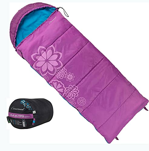 Crossroad Flowers Kinder Schlafsack 170cm - Deckenschlafsack Junior - wasserabweisend - rosa - Mädchenschlafsack für Camping - Sommerschlafsack