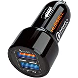 Car Charger Adapterby HUSSELL -USB Car Charger Dual Port, QualcommQuick Charge3.0 + 5.4A/30W, 4XFast- Compatible w/AnyCell Phone,iPhone Apple SamsungLG Nexus & Tablets