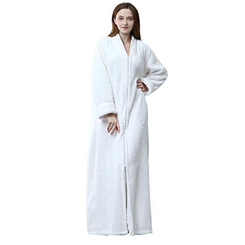 Ling Fengfeiyang Damen Saunamantel,Super Flauschiger Morgenmantel,Kapuzen-Nachthemd mit Reißverschluss, Dicker Plus Size Bademantel-H_M
