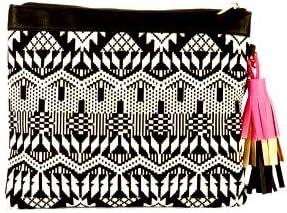 Women's Black & White Sparkle Clutch Wristlet Purse Handbag with Pink Tassel