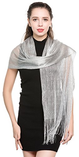 World of Shawls Scarfs and Wraps for Evening Dresses - Sheer Bridal Women's Scarves for Prom, Wedding, Party (Light Silver)