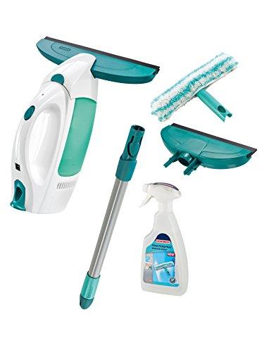 Leifheit Set aspirador limpiacristales Dry & Clean con palo, limpiaventanas, spray cleaner y boquilla estrecha para una limpieza 360 grados sin marcas, aspiradora vertical con 35 minutos de autonomía