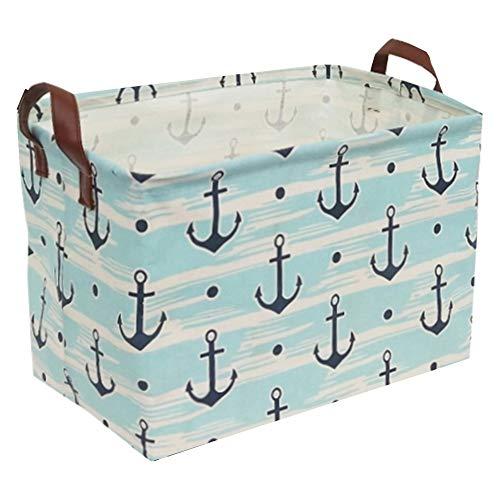 Sanjiaofen Rectangular Canvas Storage Bins,Waterproof Storage Basket,Collapsible Toy Organizer Bin with Handles for Clothes Storage, Kids Toy Box,Book Bag (Blue Anchor)