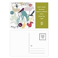 鳥の鹿の花自然環境 詩のポストカードセットサンクスカード郵送側20個