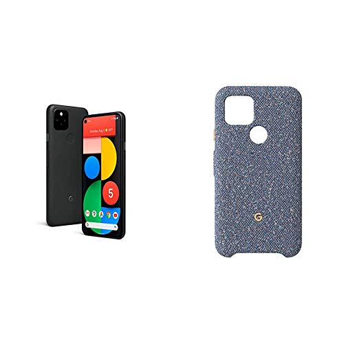 Google Pixel 5-5G Android Phone - Water Resistant - Unlocked Smartphone with Night Sight and Ultrawide Lens - Just Black with Google Pixel 5 Case, Blue Confetti