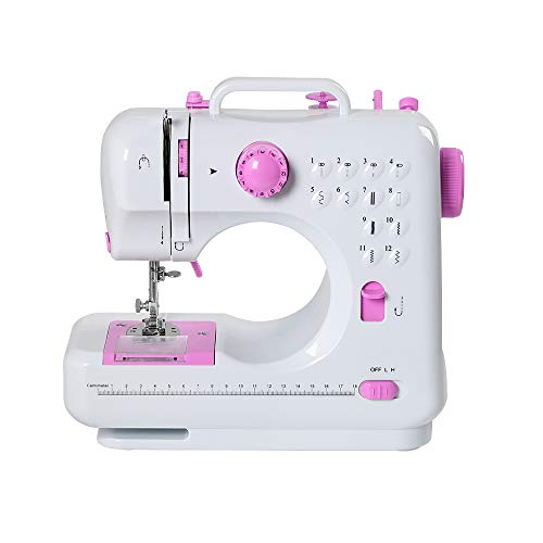 Sewing Machine Mini Portable Electric Portable Household Overlock 12 Built-in Stitches with Foot Pedal for Amateurs Beginners Embroidery Pink Safety