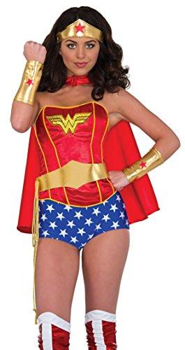 Rubie's Women's Dc Comics Wonder Woman Accessory Kit: Tiara, Belt with Lasso, Gauntlets, Multi, One Size