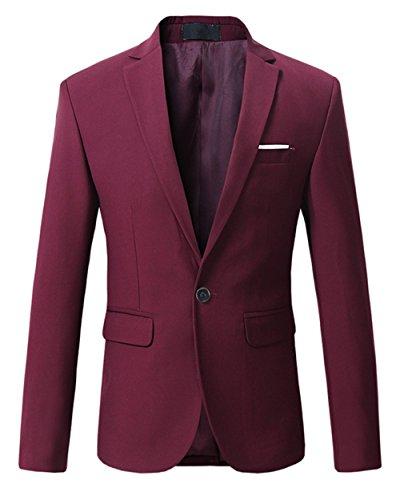 MOGU Mens Slim Fit One Button Casual Blazer Jacket US Size 40 (Label Asian Size 4XL) Wine