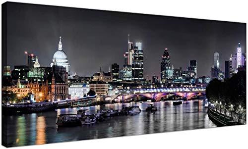 Afdrukken op canvas moderne zwart-wit canvas prints van Londen bij nacht Canvas schilderijen Wall Art Pictures Decor 40x100cm (15.7x39.4 inch) Geen frame