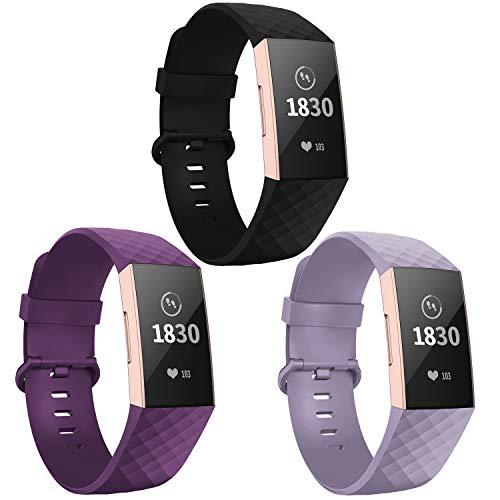 Adepoy für Fitbit Charge 3 Armband, Verstellbarer klassischer Sport Ersatzarmband Kompatibel mit Fitbit Charge 3/ Charge 3 SE, Damen Herren (3er Pack,Schwarz/Lila/Lavendel, Groß)