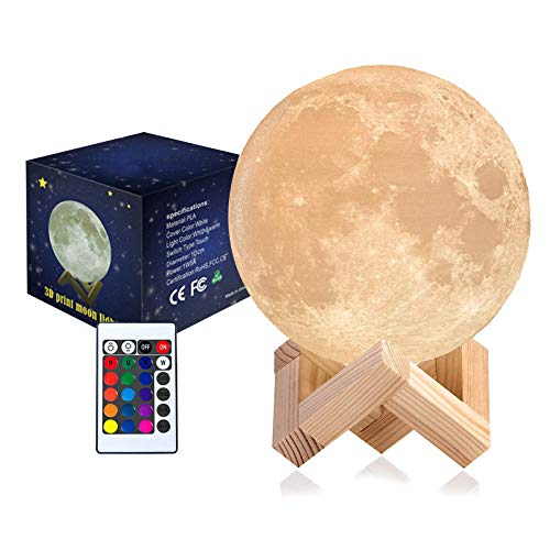 goodluccoy Moon Lamp 3D Print LED Moon Light Lamp Moon Light for Kids, Dimmable Touch Control Brightness Light for Home Decoration and Gifts for Lover,Parents,Friends, 16 RGB Color