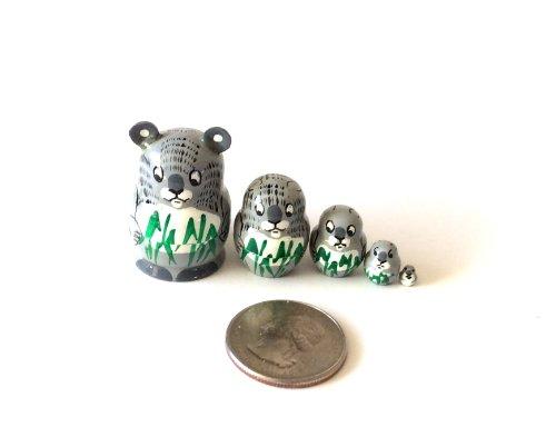 1.25' Tall Koala Mini Nesting Dolls Russian Hand Carved Hand Painted 5 Piece Matryoshka Set