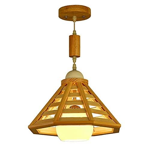 HLY Luci del soggiorno, lampada a sospensione moderna creativa in stile nordico Balcone Sala da pranzo Soggiorno Corridoio Lampadario in vetro semplice Lampada da soffitto regolabile in legno