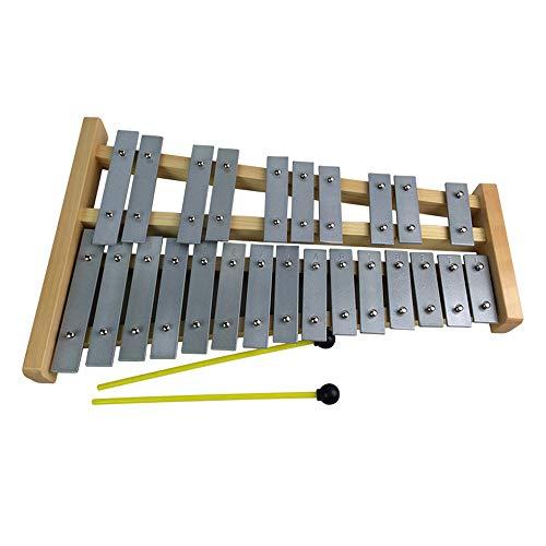 SMAA 25 Llaves de Metal Profesional xilófono de Madera Glockenspiel, niños percusión Educación Instrumento Musical, para Adultos y Niños - Incluye 2 batidores de Madera