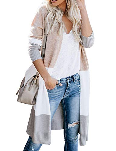 Women's Striped Colorblock Chic Loose Sweater Cardigan Boho Long Knee Length Lightweight Spring Oversized Duster Coat