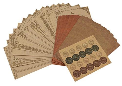 ZERONOWA アンティーク 調 レターセット 手紙 封筒 便箋 シール セット (アンティーク調)