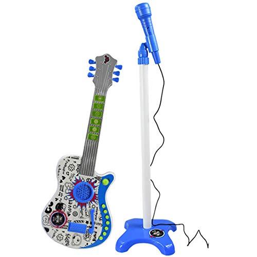TONGJI Rock-Gitarre für Kinder mit Verstellbare Standmikrofon, Rockgitarre 6 Saite E-Gitarre Kinder Spielzeug