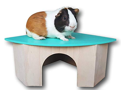 Piggies Choice The Space House All Natural Large Wooden Corner Hideout Guinea Pig and Bunny Hut (Teal)