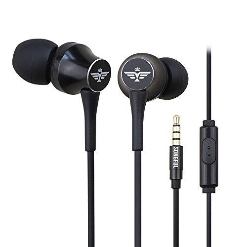 afunta headphones bluetooths Earbuds in Ear Headphones - with Mic/Controller Compatible iPhone Samsung ipad iPod (Black)
