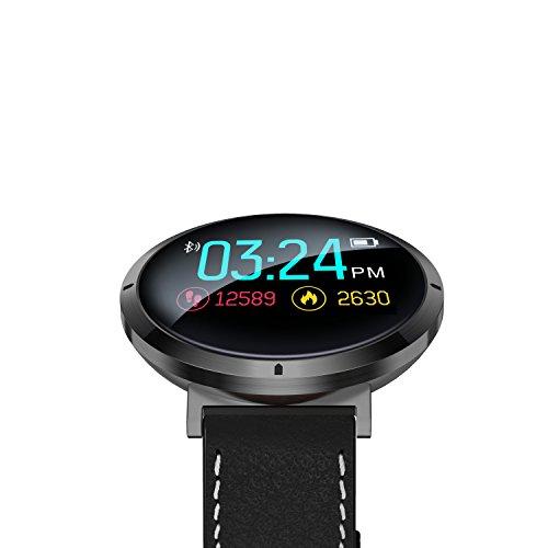 wasserdichte Smartwatch + Herzfrequenz Blutdruck Sauerstoff Level Touch Screen Monitor, Bluetooth Fitness Tracker für Fitness Schlafqualität, Beste für Frauen, Männer & Paare, Elegantes Lederband