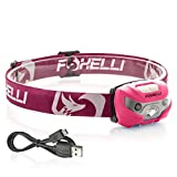 Foxelli USB Rechargeable Headlamp Flashlight - 160 Lumen, up to 30 Hours of Constant Light on a Single Charge,...