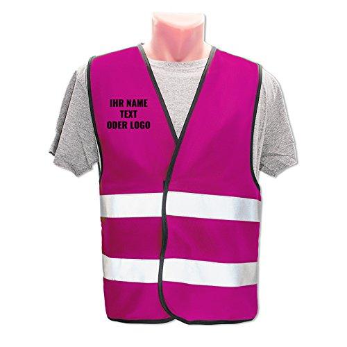Hochwertige Warnweste mit Leuchtstreifen * Bedruckt mit Name Text Bild Logo Firma * personalisiertes Design selbst gestalten, Farbe Warnweste:Pink (XL/XXL), Druckposition:rechte Brust (10 x 10 cm)