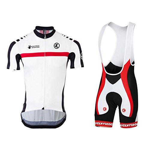 Uglyfrog Retro Heißer Sport & Freizeit MTB Fahrradbekleidung Radtrikot+ Fahrrad-Trägerhose mit Sitzpolster Set
