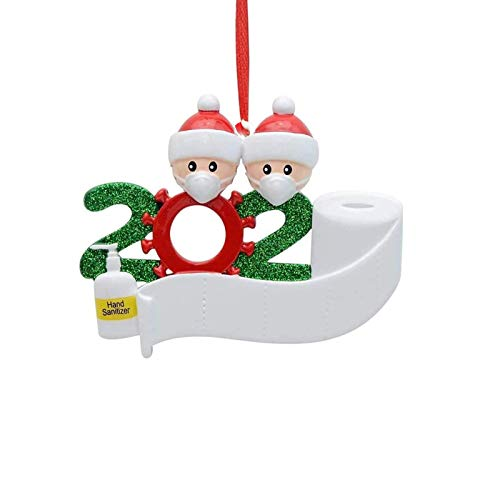 2020 Personalized Christmas Ornament Kit with Toilet Paper Survived Family Special Keepsake Tree Hanging Home Party Holiday Decorations Xmas Gifts (Family of 2)