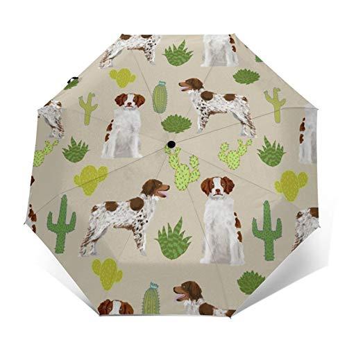 Automatischer dreifach faltbarer Regenschirm mit 3D-Außendruck, Bretagne, Spaniel, süßer Hund, Kaktus, Hund, Sporthunde, Pistole, Hund, winddicht, UV-Schutz, Regenschirme für den täglichen Gebrauch