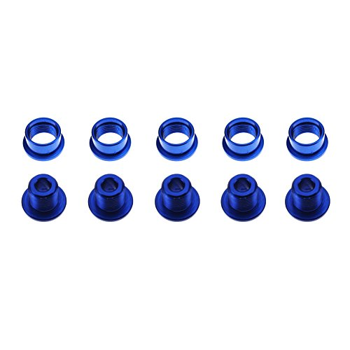 CYSKY Single Chainring Bolts 5 Pack M8 Single Short Chain Ring Bolts Fit for Road Bike, Mountain Bike, BMX, MTB, Fixie (Aluminum Alloy, CNC, Blue)