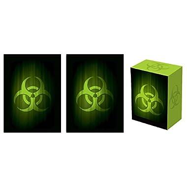 Legion SUPER Iconic BIOHAZARD Deck Box + 100 Matching DOUBLE Matte Finish CONTAGION GREEN Sleeves (fits Magic / MTG, Pokemon Cards)