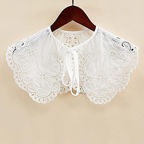Cuello de cuello, cuello de encaje, camisa falsa para mujer, cuello falso, bordado floral, solapa de encaje, collares desmontables, decorativos 09401