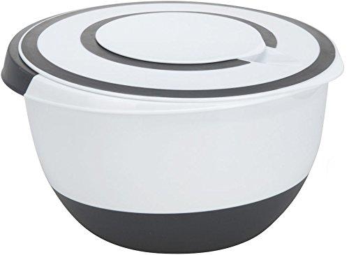 Spetebo Rührschüssel XXL - 5 Liter - Kunststoff Schüssel mit rutschfestem Boden und Deckel - Spülmaschinenfest