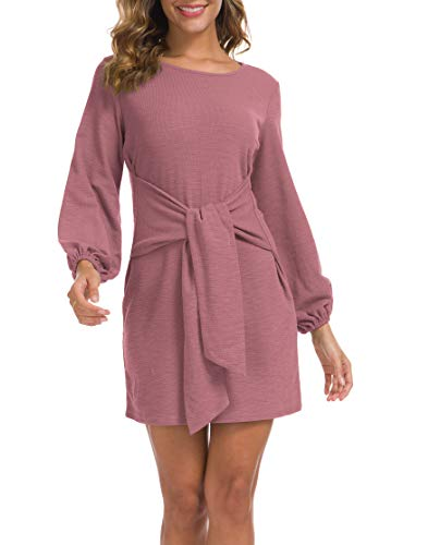 Lionstill Women's Elegant Long Sleeve Dress Casual Tie Waist Sweater Dresses Mauve Medium