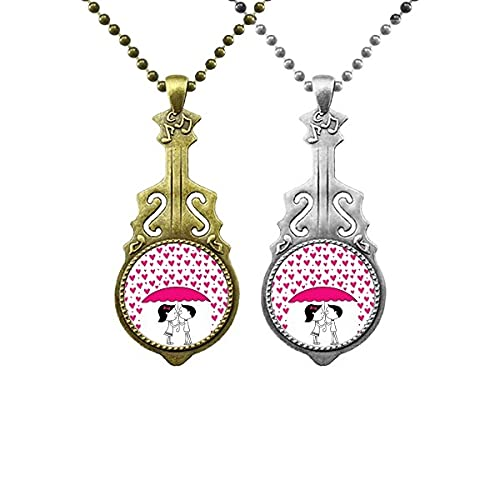 Valentinstag Küssen Paar Liebhaber Musik Gitarre Anhänger Schmuck Halskette Anhänger