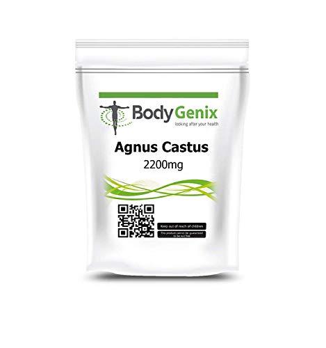 Bodygenix Vitex Agnus Castus Supplement   Reduces Menstrual Mood Swings, Irritability, Cramp   High Strength 2200mg Veg 60 Capsules