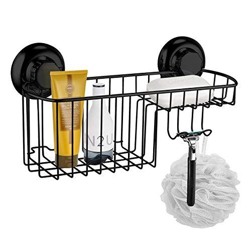 MaxHold Saugschraube Seifenkorb/Seifenhalter - 2 Haken - Befestigen ohne Bohren - Edelstahl rostfrei - Küchen & Badezimmer Aufbewahrung