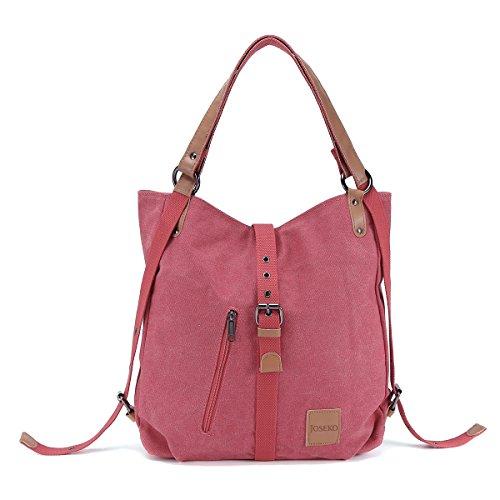 JOSEKO Canvas Tasche, Damen Rucksack Handtasche Vintage Umhängentasche Anti Diebstahl Hobotasche für Alltag Büro Schule Ausflug Einkauf Rot