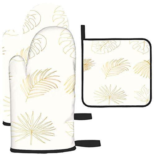Bgejkos Golden Tropical Rainforest Leaves Aralia Monstera - Juego de guantes de horno y estante para ollas, resistentes al calor, guantes de seguridad para asar a la parrilla, hornear y cocinar
