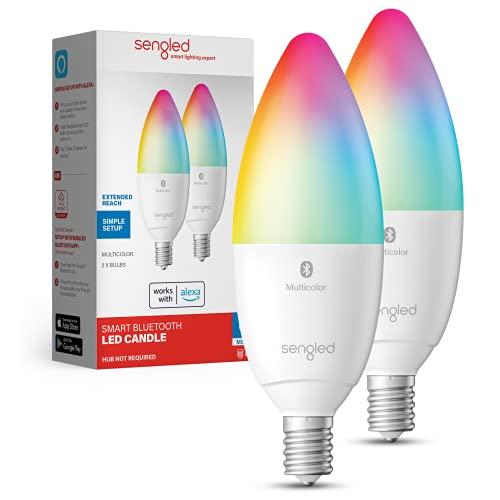 Sengled Alexa Light Bulb, Candelabra Light Bulbs Color Changing, Candelabra LED Light Bulbs 450 LM 45W Equivalent RGBW, E12 LED Bulb, Smart Bulbs That Work with Alexa Only, No Hub Request, 2 Pack