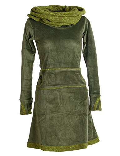 Vishes - Alternative Bekleidung – Samtkleid mit Kapuzenkragen olivegrün 44