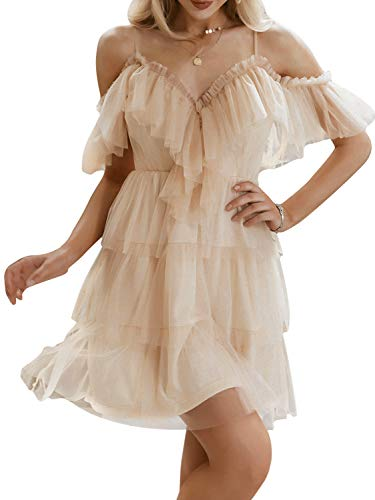 Simplee Women's Sexy Tulle Dress Ruffle Strappy A line Mini Dresses (4-6 Nude)