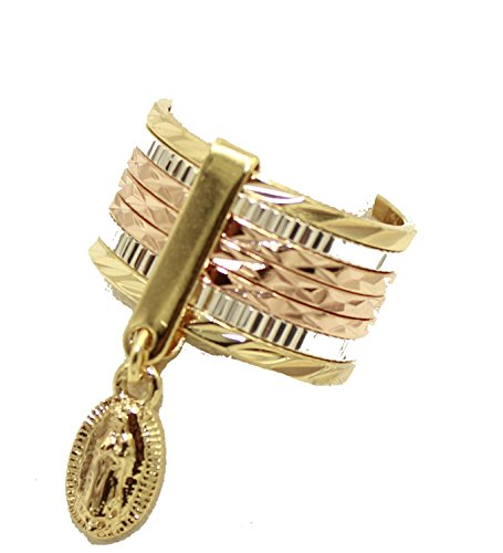 Virgen de Guadalupe Morenita dos tono oro 18K chapado en oro anillo tamaño 9