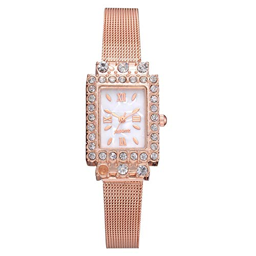 Exquise schaal heren stalen band horloge, modieuze vierkante wijzerplaat quartz horloge mesh riem vrouwelijk horloge