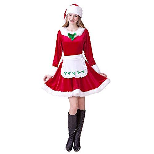 JJAIR Adulto Fantasa de Navidad Conjunto de Vestuario, el Traje de Santa Sistema del Vestido de Navidad,L